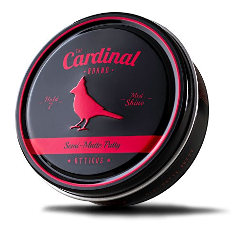 The Cardinal Brand Atticus Semi Matte Texture Putty 3.4 Ounce is a Medium Shine, Medium Hold, Thickening, Texturizing, Defining, Styling and Grooming Product for Men and Women. For All Hair Types