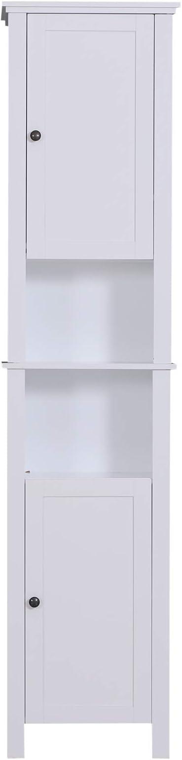 Bianco 40x30x170cm homcom Mobile Armadietto Bagno Cucina 6 Ripiani Regolabili Design Moderno Anti Ribaltamento Legno