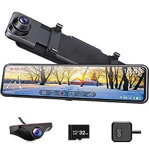 ドライブレコーダー ミラー型 前後カメラ 伸縮カメラ 右ハンドル仕様 1080P【32GB SDカード付き】