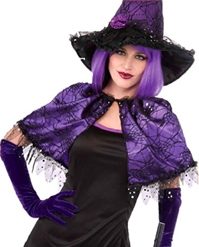 Witch Capelet Halloween Costume Cape Purple Black Spiderwebs Lace Adult (Adult Or Child Gobbler Turkey Hat)