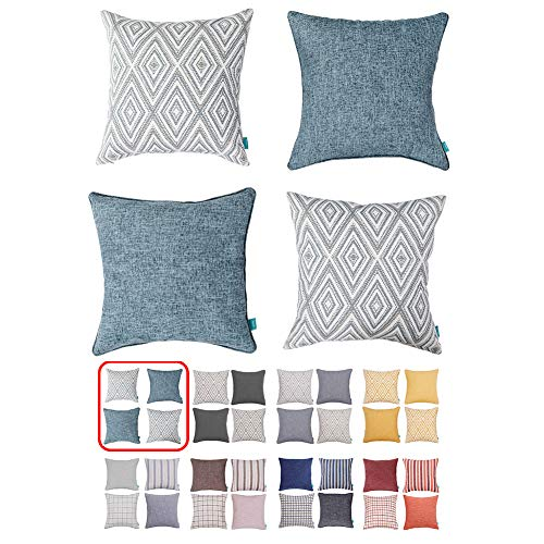 HOMEPLUS Plaid Cotton Decorative Pillow Covers 4 pcs Throw Pillows Covers Navy Blue Couch Pillowcase Cushion Cover 17X17 Throw Pillow Cover Couch Blue