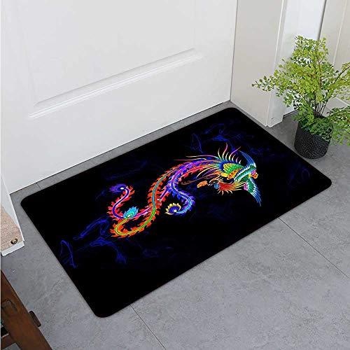 Bohogifts 500082826Traditional Color Phoenix Pictures Indoor Super Absorbent mud Door mat Non-Slip Door mat20 x31 (W50cm x L80cm)