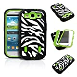 Galaxy S3 Case, MagicMobile® Dual Hard Heavy-Duty Plastic Protective Case for Samsung Galaxy S3 / I9300 Hybrid White and Black [Zebra-Pattern] Rugged Silicone Armor Impact Shockproof Cover [Neon Green]