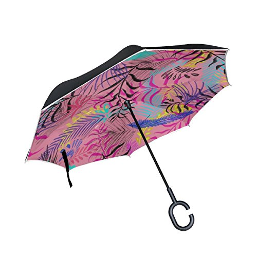 DNOVING Double Layer Inverted Illustration Reason Leaves Design Umbrellas Reverse Folding Umbrella Windproof Uv Protection Big Straight Umbrella For Car Rain Outdoor With C-shaped Handle