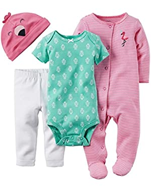Pink Flamingo 4 Piece Layette Set Newborn