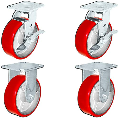 6 x 2 Heavy Duty Caster Set with Red Polyurethane on Steel Wheels, 1,200 lbs Capacity per Caster, 6