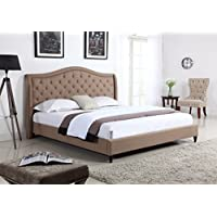 Home Life Cloth Light Brown Linen Curved Hand Diamond Tufted and Nailed Headboard 53' Tall Headboard Platform Bed with Slats King - Complete Bed 5 Year Warranty Included 013