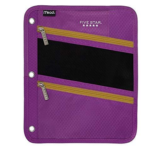 Five Star Zipper Pouch, Pencil Pouch, Pen Holder, Fits 3 Ring Binders (Purple/Orange) ()