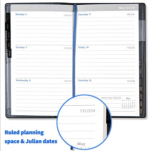 2019 Pocket Planner/Calendar - Academic Weekly & Monthly Pocket Planner with 12 Month Tabs,Agenda Planner and Schedule Organizer with Pen Hold, Bonus Notes Pages and Inner Pocket, 6.8