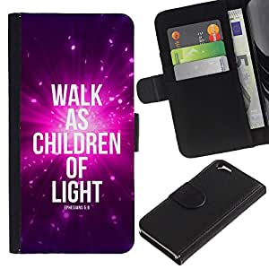 EuroCase - Apple Iphone 6 4.7 - WALK AS CHILDREN OF LIGHT - EPHENSIANS 5:8 - Cuero PU Delgado caso cubierta Shell Armor Funda Case Cover