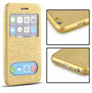 Leather For iPhone 6,iPhone 6 4.7 Case,iPhone 6 FLip Case,iPhone 6 Flip Leather,Addigital Two Windows Style Leather Case With Stand Case Cover For iPhone 6 4.7 inch Gold