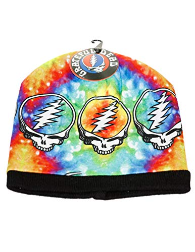 Grateful Dead Knit Beanie Skull Cap Winter Hat with Iconic Graphics - Tie Dye SYF