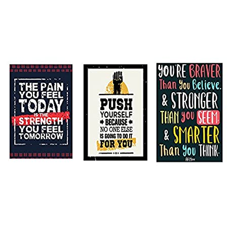 Vprint Combo pack of 3 Motivational quote Wall Poster Quotes & Motivation ,(12X18)
