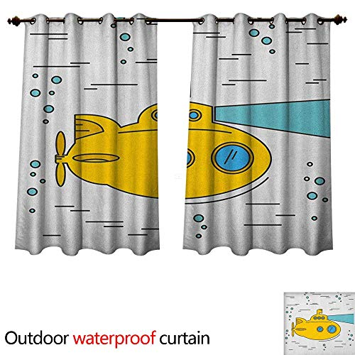 (Anshesix Yellow Submarine Home Patio Outdoor Curtain Ocean Nautical Adventure Underwater Bubbles Porthole Cartoon Kids W72 x L63(183cm x 160cm))