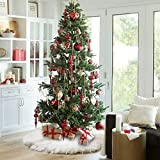 Keriqi 48 inches Christmas Tree Skirts, White Plush Faux Fur Tree Ornaments Thick Xmas Tree Skirt for Christmas Decoration New Year Party