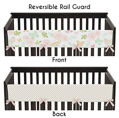 Sweet Jojo Designs Blush Pink, Mint, Gold and White Watercolor Rose Polka Dot Long Front Crib Rail Guard Baby Teething Cover Protector Wrap for Butterfly Floral Collection Butterfly White Protector Cover