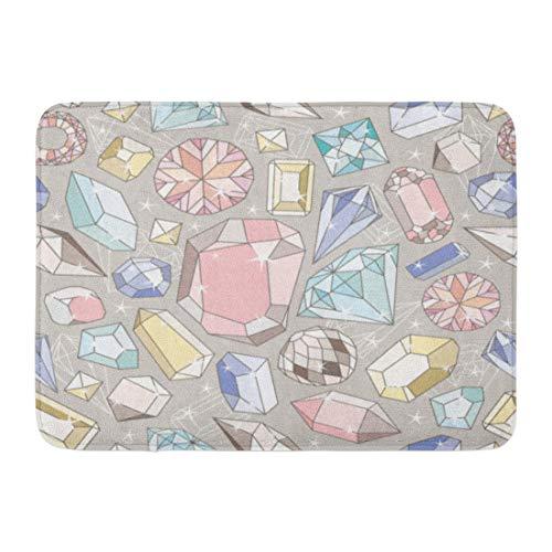 Bath Jewelry Diamond Pattern (Emvency Doormats Bath Rugs Outdoor/Indoor Door Mat Pink Cute Pastel Diamond Pattern Colorful Shape Jewelry Glamor Shine Bathroom Decor Rug 16