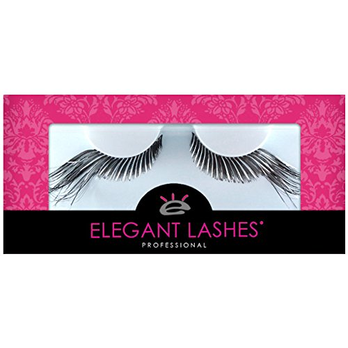Elegant Lashes C194 Premium Color False Eyelashes | Black and Silver Metallic Mix Party Eyelash with Extra-Long Accent Ends) for Halloween Dance Rave -