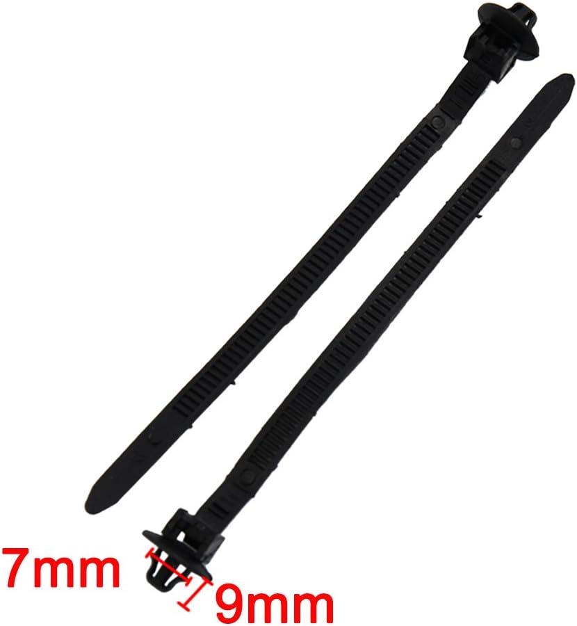 9mm x 140mm regolabile in nylon per montaggio a spingere le fascette per cavi Zip allacciare il filo nero sourcingmap/® 40pz
