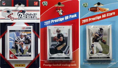 NFL New England Patriots Licensed 2011 Score Team Set with Twelve Card 2011 Prestige All-Star and Quarterback Set