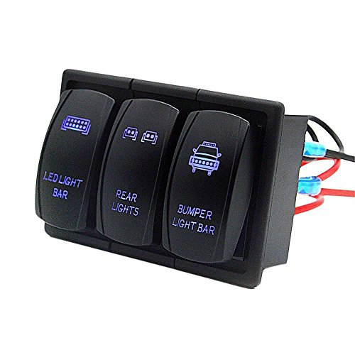 YOUNGFLY 3 GANG Rocker Switch Panel Circuit Breaker LED Bar Rear Light For RV Car Marine Boat