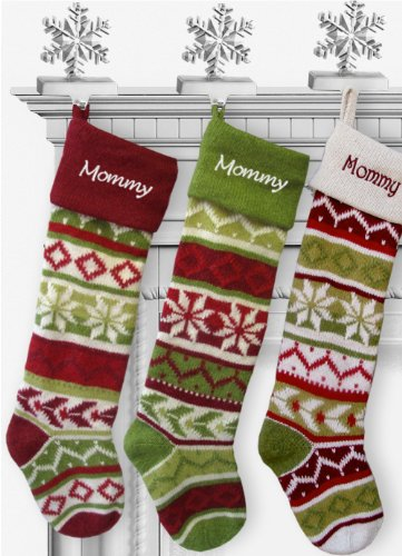 SET OF 5 Oversized 28'' Knitted Christmas Stockings FairIsle Knit + Monogram - CHOOSE YOUR DESIGNS - Embroidered with Choice of YOUR Names by CHRISTMAS-STOCKINGS-by-STOCKINGFACTORY (Image #6)