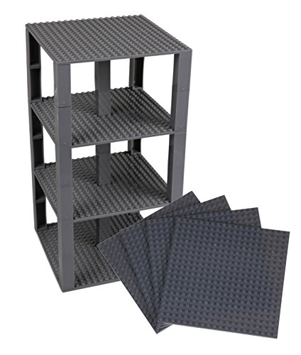 Strictly Briks Classic Baseplates 6 x 6 Brik Tower 100% Compatible with All Major Brands   Building Bricks for Towers and More   4 Charcoal Gray Stackable Base Plates & 30 Stackers