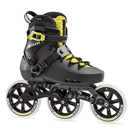 (Rollerblade Maxxum Edge 125 3Wd Adult Fitness Inline Skate, Metallic Grey/Lime, Size 11)