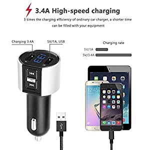Ablue Bluetooth FM Transmitter, Bluetooth Universal Car Charger MP3 Player Adapter Car Kit Hands Free Calling, Dual USB Ports Charge