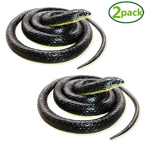 Long Snake - Homdipoo Realistic Fake Rubber Snake Black Snake Toys That Look Real Prank Stuff Cobra Snake 49 Inch Long (2pack)