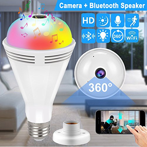 Color Hidden Video Camera (Light Bulb Wireless WiFi IP Hidden Camera for Home Security System with Bluetooth Speaker Audio Qiwoo 360 Panoramic Spy Cam Baby Pet Monitor Outdoor Night Vision Motion Detection for iPhone Android)