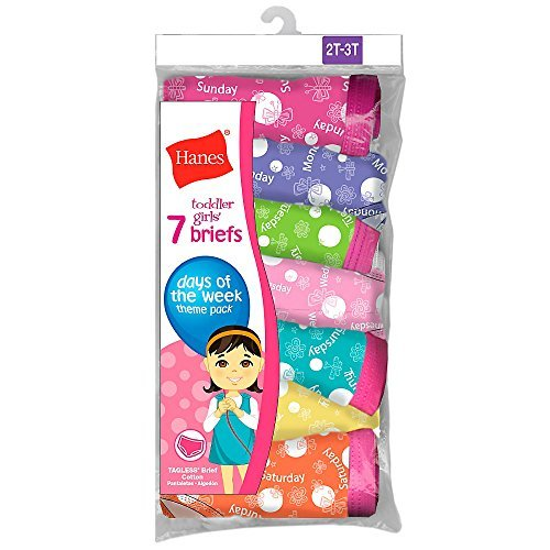 Hanes Toddler Girls Toddler 7-Pack Brief, Assorted, 2/3