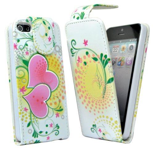 24/7 Kaufhaus- Rosa Herz blumen Elegantes Leder Etui / Pouch / Tasche für Apple iphone 5, 5g