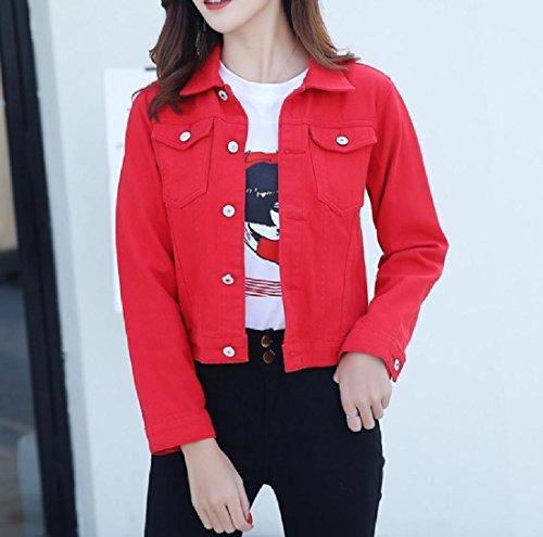 Short Cardigan Jacket Women Jacket Denim Summer Casual Red aicessess Coat tYZpwxq