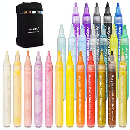 Paint Pens for Rock Painting, SAYEEC 24 Color Art Permanent Acrylic Paint Markers Pens Medium Tip for Ceramic, Rock, Mug Design, Glass, Canvas, Photo Album, Metal, Gift DIY Craft for Kids