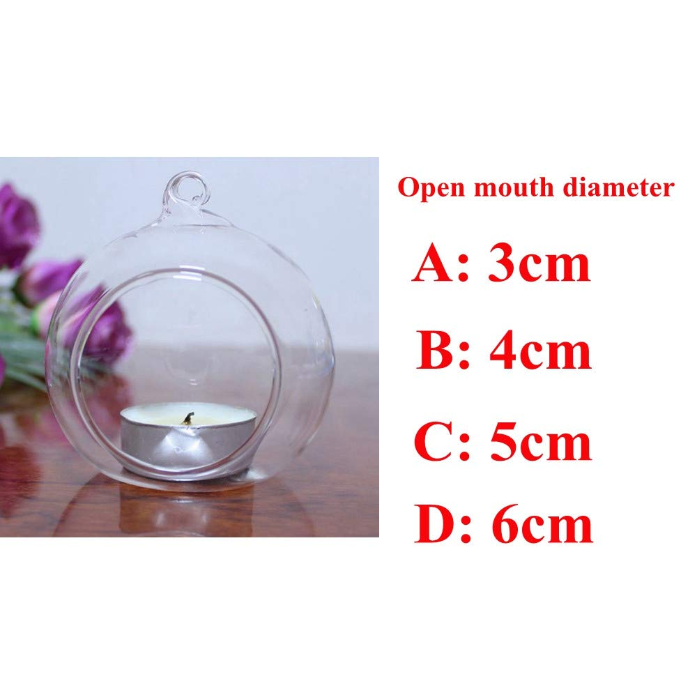 SamMoSon Candles Holders Decor, Crystal Glass Hanging Candle Holder Candlestick Home Wedding Party Dinner Decor Clear D