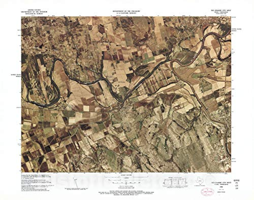 Historic Map   Color Image map : Ports of Entry, United States-Mexican Border   Rio Grande City West, TX - Tamaulipas (1983) 30in x 24in