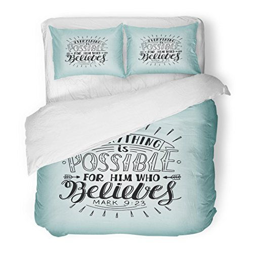 SanChic Duvet Cover Set Hand Lettering Everything Is Possible for Him Who Believes Christian New Testament Modern Calligraphy Decorative Bedding Set with 2 Pillow Shams Full/Queen Size by SanChic