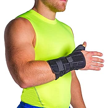 BraceAbility Lace-up Thumb Abduction & Wrist Spica Cast Splint | Use for Broken / Fractured Thumb Treatment, Post Surgery Recovery - Immobilizes Basal / CMC / Carpometacarpal Joints (Right Hand)