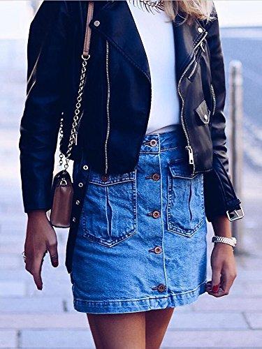 simplEE prendas de vestir las mujeres de otoño invierno Casual motocicleta Turn Down cuello solapa cremallera cinturón cintura corto de piel sintética chaqueta abrigo Outwear negro