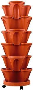 Julvie Stackable Vertical Planter Set,Strawberry and Herb 6 Tier Garden Tower Ideal,Stackable Gardening Potsfor Growing Herbs,Vegetables,Flowers,Indoor Outdoor Porch Decor