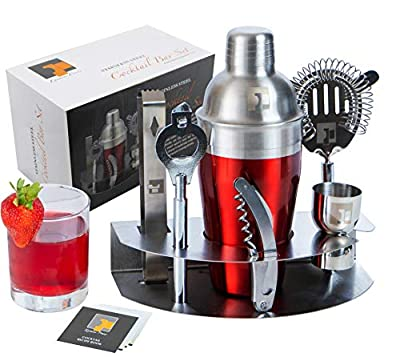 Premium 304 Stainless Steel Cocktail Bar Tool Kit by Eximius Power | 7pc Shaker Set Accessories | Mix your favorite Cocktail Drink like a Pro | Great Mixology Essentials Gift & Bonus Recipe Book