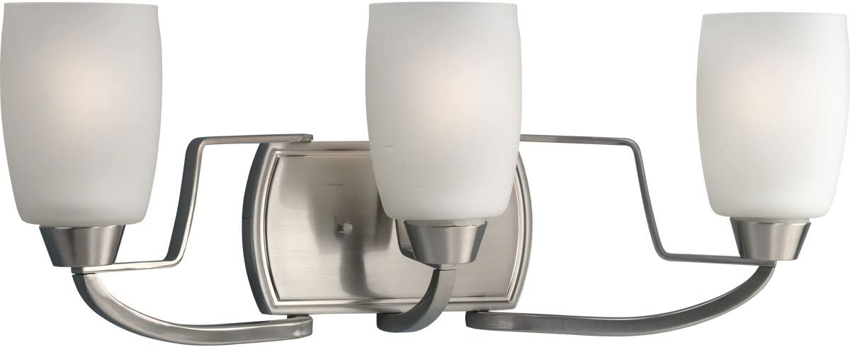 Progress Lighting P2796-09 3-Light Bath Bracket with White Opal Glass, Brushed Nickel