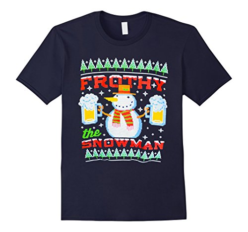 Frothy the Snowman Beer Mug Ugly Christmas T-shirt