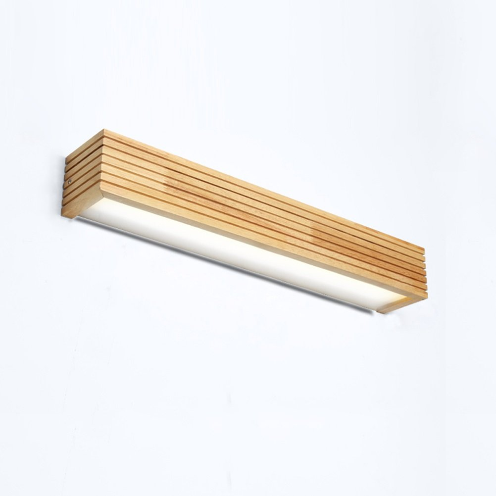 Denuo En Nordic LED Solid Wood Wall Lamp Stairs Aisle Bathroom Mirror Front Lamp Bedroom Bedside Lamp Wall Japanese Lamps (Color : Cold White 55cm)