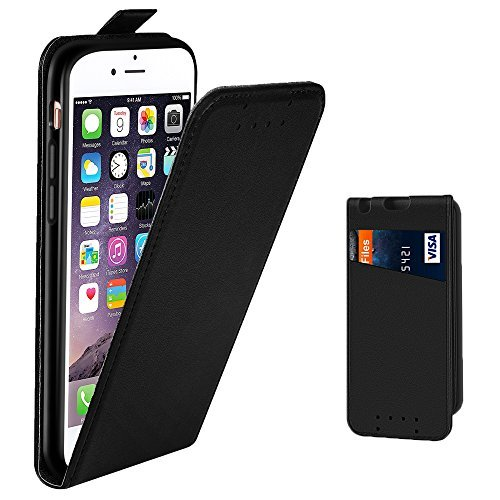 (iPhone 6 Card Case, iPhone 6S Wallet Case, Supad Premium Leather Case with Credit Card Slot ID Holder, Shockproof Protection Phone Case Cover For Apple iPhone 6 / 6S (Black))