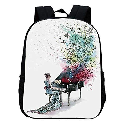 Music Decor Fashion Kindergarten Shoulder Bag,Grand Piano Music Musician Butterflies Ornamental Pianist Swirls Vintage For Hiking,One_Size (Fool In The Rain Piano Sheet Music)