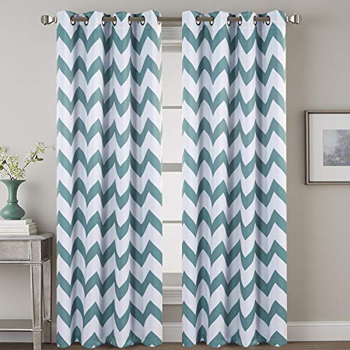 H.VERSAILTEX Teal Polyline Blackout Draperies Window Treatments Thermal Insulated Grommet Top Bedroom Darkening Curtains/Panels/Drapes for Living Room (2 Panels, 52 by 84 Inch, Teal Chevron Pattern)