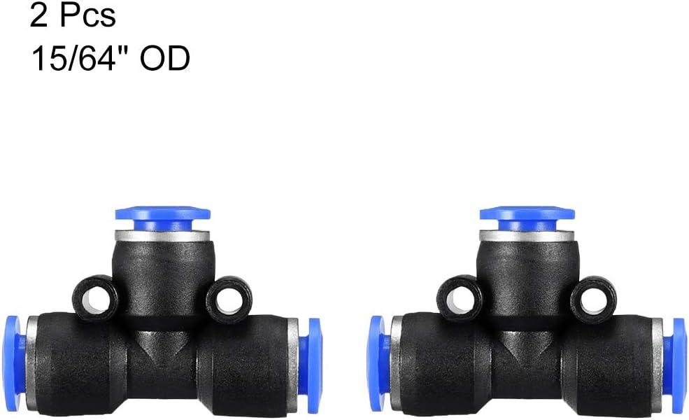 Sourcingmap Juego de accesorios para tubos de 6 mm o 15//64 pulgadas de di/ámetro color azul 2 unidades