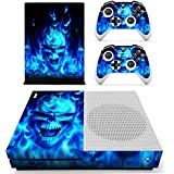 Morbuy Xbox One S Skin Vinyl Decal Full Body Cover Sticker For Microsoft Xbox One S Console and 2 Controller Skins (Skull Fire Blue)